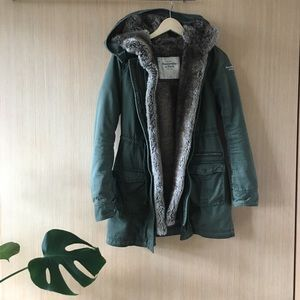 Abercrombie and fitch fur military jacket